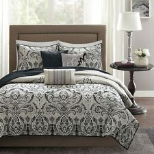 6pc black taupe white embroidered pillows quilted coverlet quilt sham set