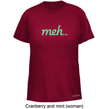 MEH American Apparel T-shirt tee Womens model 2102 Cranberry OR Forest