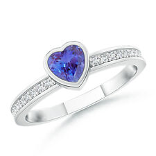 Natural Heart Tanzanite Promise Ring with Diamond Accent in White Gold Size 3-13