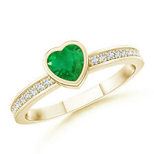 Natural Heart Emerald Promise Ring with Diamond Accent 14k Yellow Gold Size 3-13