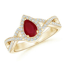 Twist Shank Pear Shaped Natural Ruby Ring with Diamond Halo 14k Yellow Gold