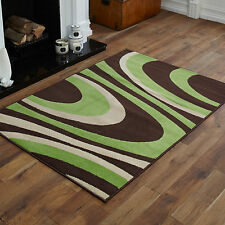 EXTRA LARGE MODERN BROWN GREEN CURLY DESIGN RUG 180x270 cm AREA RUGS BUDGET MATS