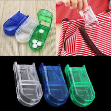 Portable Travel Medicine Pill Compartment Box Case Storage with Cutter Blade DS