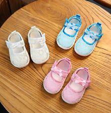 Baby Girls Lace Breathable Shoes Newborn Infant Bow Sandals Prewalker Shoes
