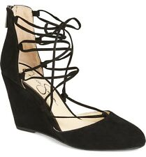 Jessica Simpson Jacee Wedge Lace Up Pump Black Suede Round Toe Mid Heel pumps