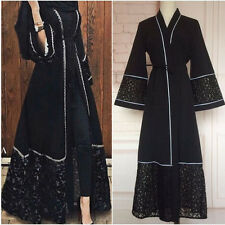 Dubia Style Open Front Trim Abaya Jilbab Muslim Islamic Maxi Party Gown Dresses