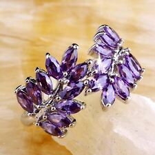 Women Purple Color Silver Plated Stone Decorated Ring (Size 6 7 8 9 10)
