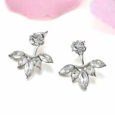 Women Summer Gold and Silver Plated Crystal Decorated Stud Earring