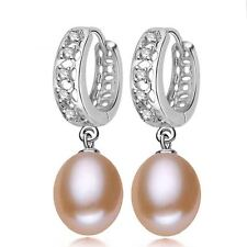 Women Wedding Party Silver Pink Color Pearl New Fashion Drop Earring