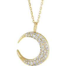 Genuine Diamonds 1/3 ctw G-H  I1 Moon Pendant Necklace 14K. White or Yellow Gold