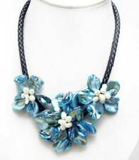 SALE Blue Baroque Shell Flower and Pearl pendant Black Rope 18'' Necklace-n6334
