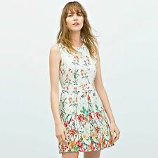 ZARA Woman BNWT Authentic Off-White Dress With Pleated Pockets XS S M L 2717/786