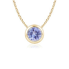 Bezel Set Round Tanzanite Solitaire Pendant Necklace with 14K Yellow Gold