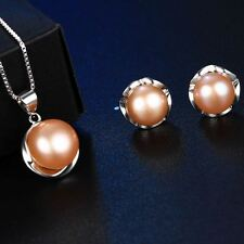 Fashion Fake Pearl Pendant Necklace And Earrings Jewelry Set For Women (10-11mm)