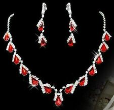 Fashionable Red Color Necklace Earring Wedding Party Jewelry Set For Women