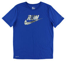 Nike Mens Printed Run Camo Swoosh T Shirt Royal Blue