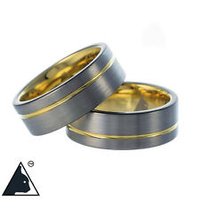 Tungsten Carbide Band Wedding Engagement Ring Yellow Gold Brushed Comfort 8mm
