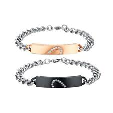 His and Hers 316L Stainless Steel Crystal Love Heart Couples Bracelet Bangle