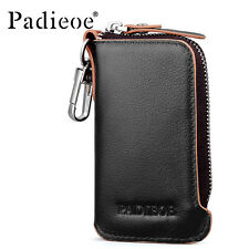 Padieoe Genuine Leather Men's Key Holder Key Bag Zipper Key Chains Coin Purse