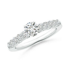 Antique Style Round Diamond Solitaire Engagement Ring 14k White Gold Size 3-13
