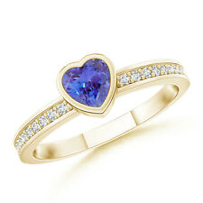 Natural Bezel Heart Tanzanite Promise Ring And Diamond 14K Yellow Gold Size 3-13