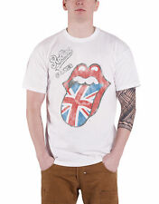 The Rolling Stones T Shirt Vintage British Tongue Logo Official Mens New White
