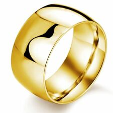 Women Men New Fashion Jewelry Black Gold Color Stainless Steel Ring 11.5mm