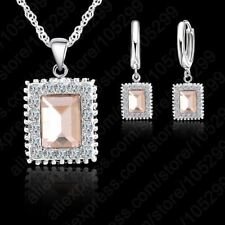 Silver Plated Pendant Necklace Earring Fake Crystal Jewelry Set For Women