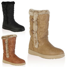 1F WOMENS FAUX FUR LINED LADIES QUILTED WINTER SNOW CALF BOOTS SHOES SIZE 3-8