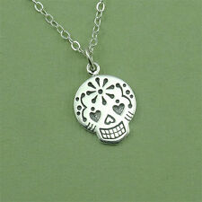 Skull Necklace Women, Sterling Silver, Skull Jewelry, Pendant, Day of the Dead