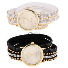 Vintage Women Faux Leather Wrap Quartz Analog Charm Fashion Bracelet Watch