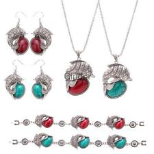 Silver Engraved Dolphin Oval Turquoise Jewelry Set(Necklace,Earrings,Bracelet)