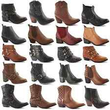 WOMENS LADIES WESTERN CUBAN HEEL LEATHER STYLE VINTAGE COWBOY ANKLE BOOTS SIZE