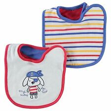 Crafted 2 Pack Bibs Infant baby White/Red/Blue Baby Dribble Eating Bibs