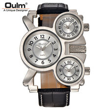Mens Watches Oulm Top Brand Luxury Military Quartz Leather Strap Wristwatch New