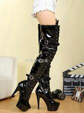 Womens Sexy Patent Leather High Heel Platform Lace Up Over Knee High Boots Shoes