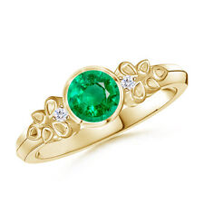 Vintage-Style Natural Round Emerald with Diamond Bezel Ring 14K Yellow Gold