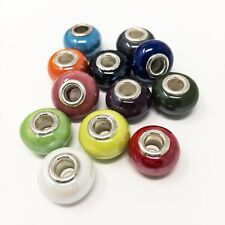 Porcelain Charm Beads For Bracelets-Choice Of Colours-Beautiful Pearlized Finish