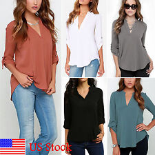 Fashion Women's V-neck Long Sleeve Summer Chiffon Tops Shirts Casual Blouse Tee