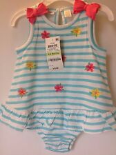 NWT Baby Girl 3-6M Sunsuit Romper Blue/White Stripes First Impressions NEW