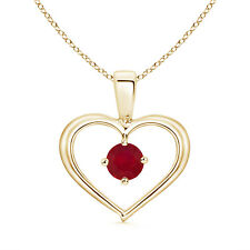 """Solitaire Round Natural Ruby Heart Pendant Necklace 14k Yellow Gold 18"""" Chain"""