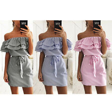Hot Strapless Beach Shirt Casual Dresses Party  Women's Summer Mini