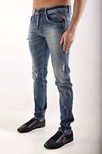 Mens Replay Skinny Slim Fit Stretch Mid Stonewash Ripped Designer Denim Jeans
