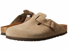 New BIRKENSTOCK Mens Womens BOSTON Soft Footbed Taupe Suede Classic Clogs 56077