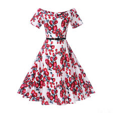 Belt + 1950s Vintage Style Swing Womens Retro Rockabilly Evening Party Dress