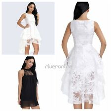 Women Loose Lace Chiffon Floral Sleeveless Evening Party Cocktail Mini Dress New