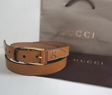 Authentic GUCCI Light Brown FEATHER Detail Leather Belt #375182 95/38 100/40