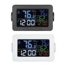 LCD Digital Indoor/Outdoor Thermometer Hygrometer Alarm Clock Color Screen E6G1