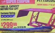$299 COUPON Harbor Freight Motorcycle Lift Table Hoist COUPON ONLY exp 8/27/2017