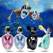 Anti-fog Swimming Diving Full Face Mask Surface Diving Snorkel Scuba for  GoPro